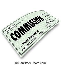 paga, dinero, venta, comisión, compensación, ingresos, cheque
