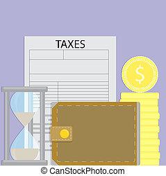 paga, impuestos, tiempo