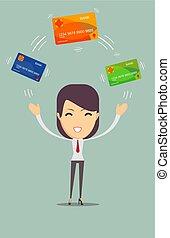 paga, mujer, tarjeta, empresa / negocio, credito
