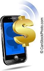 paga, por, móvil, célula, elegante, teléfono