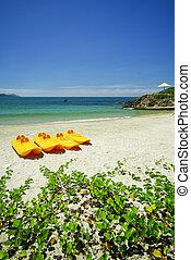 pagaie, mer, émeraude, bateaux, plage blanche, sablonneux