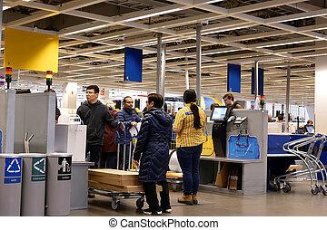 pagamento, canada, prodotto, persone, stesso, contatore, bc, assegno, movimento, coquitlam, ikea, dentro, negozio, fuori