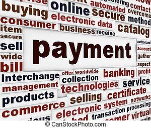 pagamento, criativo, palavras, cartaz