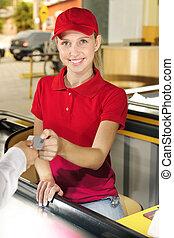 pagamento, donna, cassiere, contanti, contatore