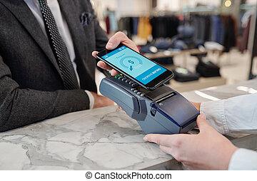 pagamento, negozio, smartphone
