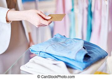 pagamento, per, vestiti