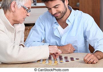 pagamento, vecchio, giovane, gioco, signora, uomo