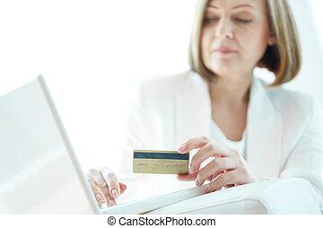 pagamento, vicino, scheda