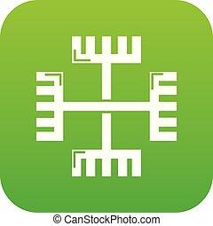 Pagan ancient symbol icon green vector