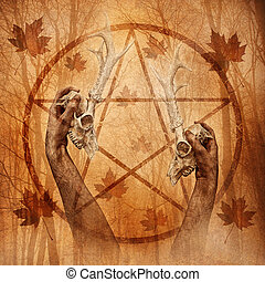 Pagan ritual graphic with hands upholding two stag skulls against a forest background overlaid with a pentagram.