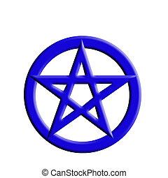 Blue embossed pagan symbol