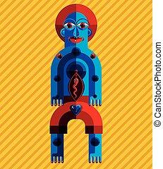 Pagan symbol vector illustration, spiritual cult theme....