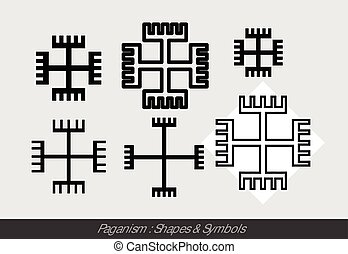 Paganism Religious Symbols Vector Illustration