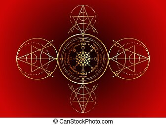 pagans., signe, cycle, année, isolé, solstices, annuel, ...