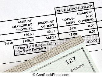 pagar, a, conta médica