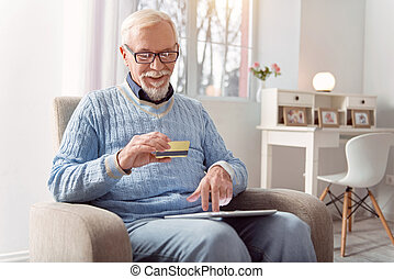 pagar, agradável, cartão, online, sênior, banco, homem