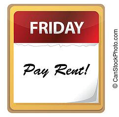 pagar, aluguel, marca, calendário