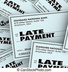 pagar, cheque, tarde, pilha, palavras, contas, pagamento,...