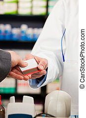 pagar, cliente, farmacéutico, farmacia