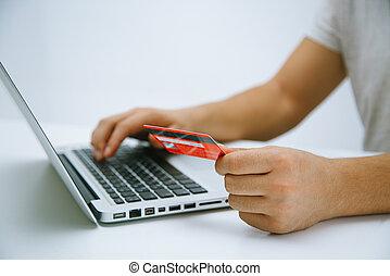 pagar, com, cartão crédito, online