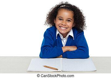 pagar, entusiástico, atenção, classe, estudante