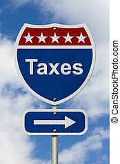 pagar, impostos, sinal, maneira, seu, estrada