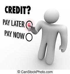 pagar, later, -, crédito, vs, escolher, dinheiro, agora, ...