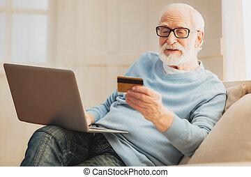 pagar, modernos, idoso, online, homem novo, mobília