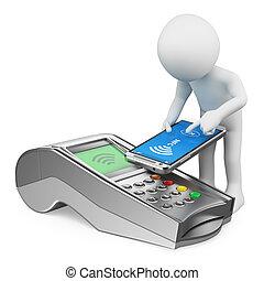pagar, nfc, móvel, pessoas., telefone, branca, homem, 3d