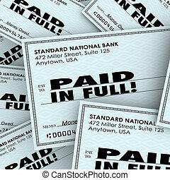 pagar, owed, cheio, dinheiro, pago, pilha, palavras, obrigação, contas, cheque