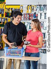 pagar, pareja, hardware, credito, por, tarjeta, tienda