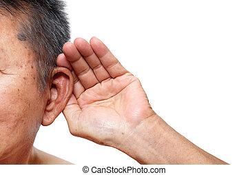 pagar, perda, antigas, som, atenção, ouvindo, escutar, problema, age-related, elderly., homem
