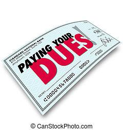 pagar, requisito, seu, cheque, dinheiro, dues, palavras, obrigação, ganhando