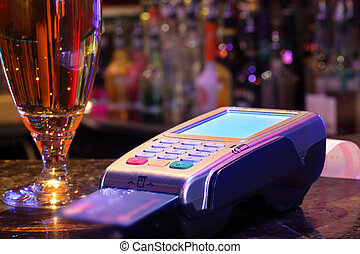 pagar, tarjeta de crédito, bebida