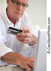 pagar, velho, online, homem