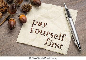 pagar, você mesmo, primeiro, -, financeiro, conselho