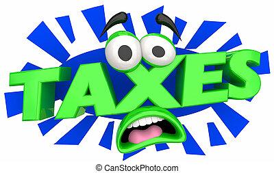 pagare, conto, dovuto, illustrazione, faccia, tasse, cartone animato, tuo, 3d