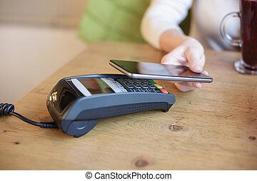 pagare, donna, usi, far male, telefono