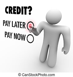 pagare, later, -, credito, vs, scegliere, soldi, ora, raccolta finanziaria