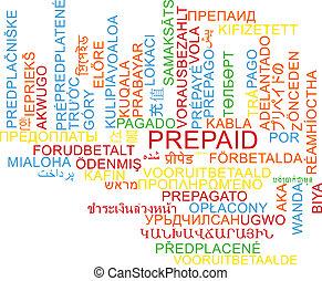pagato anticipo, multilanguage, wordcloud, fondo, concetto