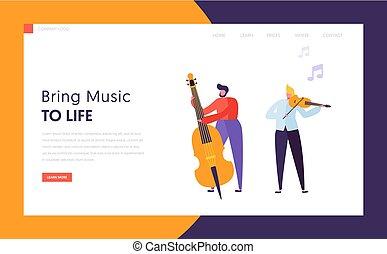 page., かわいい, 概念, イメージ, バイオリン, 網, 特徴, 道具, パフォーマンス, ウェブサイト, 平ら, プレーしなさい, ジャズ, カラフルである, 音楽家, イラスト, バンド, 着陸, 漫画, 人, ∥あるいは∥, ベクトル, コントラバス, 楽しみ, music., ミュージカル