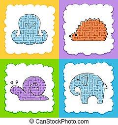 page., セット, mazes., illustration., conundrum., 色, 困惑, ビジュアル, 漫画, ゲーム, ベクトル, 活動, children., 迷路, worksheets., style., kids.
