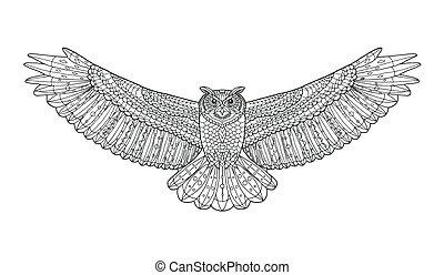 page., ワシ, 着色, パターン装飾された, owl., ベクトル, 民族, illustration.