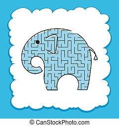 page., 子供, illustration., conundrum., 色, 困惑, ベクトル, children., toon, ゲーム, 迷路, 活動, 野生, 迷路, elephant., worksheets., animal.