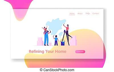 page., 家族, 壁, 家, 家, 子供, 網, 改修, 親, 新しい, 幸せ, ウェブサイト, 平ら, 着陸, イラスト, 旗, 漫画, 子供, ローラー, 一緒に, 費やしなさい, ベクトル, 時間, 作成, 絵, ページ