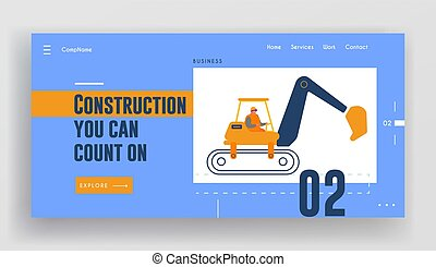 page., 工作, 网站, 建设者, 修理, 道路, 着陆, 机器, excavator, 摆脱, 特别, 重