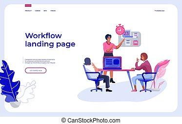 page., 相互作用, 辦公室, 工作流程, 工作, 人們, 著陸, 事務, 矢量, 儀表板, 隊, 組織, 頁, communicating.