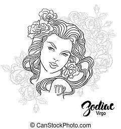 page., 着色, イラスト, virgo, flowers., 本, ベクトル, デザイン, 女の子, zodiac...