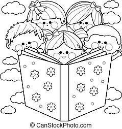 page., 着色, グループ, 子供, book., ベクトル, 読書