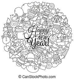 page., 着色, セット, クリスマス, pattern., グリーティングカード, 理想, 本, 陽気, モノクローム, 休日, 印刷, クリスマス